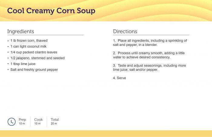 Cool Creamy Corn Soup Recipe Card