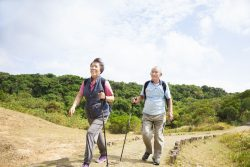 senior couple on hiking trail