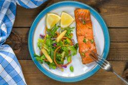 barbecue maple glazed salmon with fresh salad