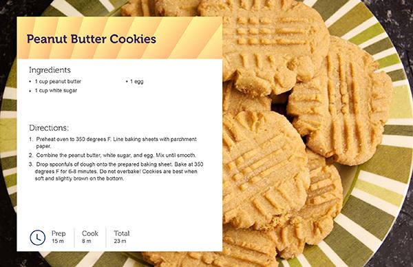Peanut Butter Cookies Recipe Card