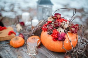 autumn rustic pumpkin bouquet with dried foliage
