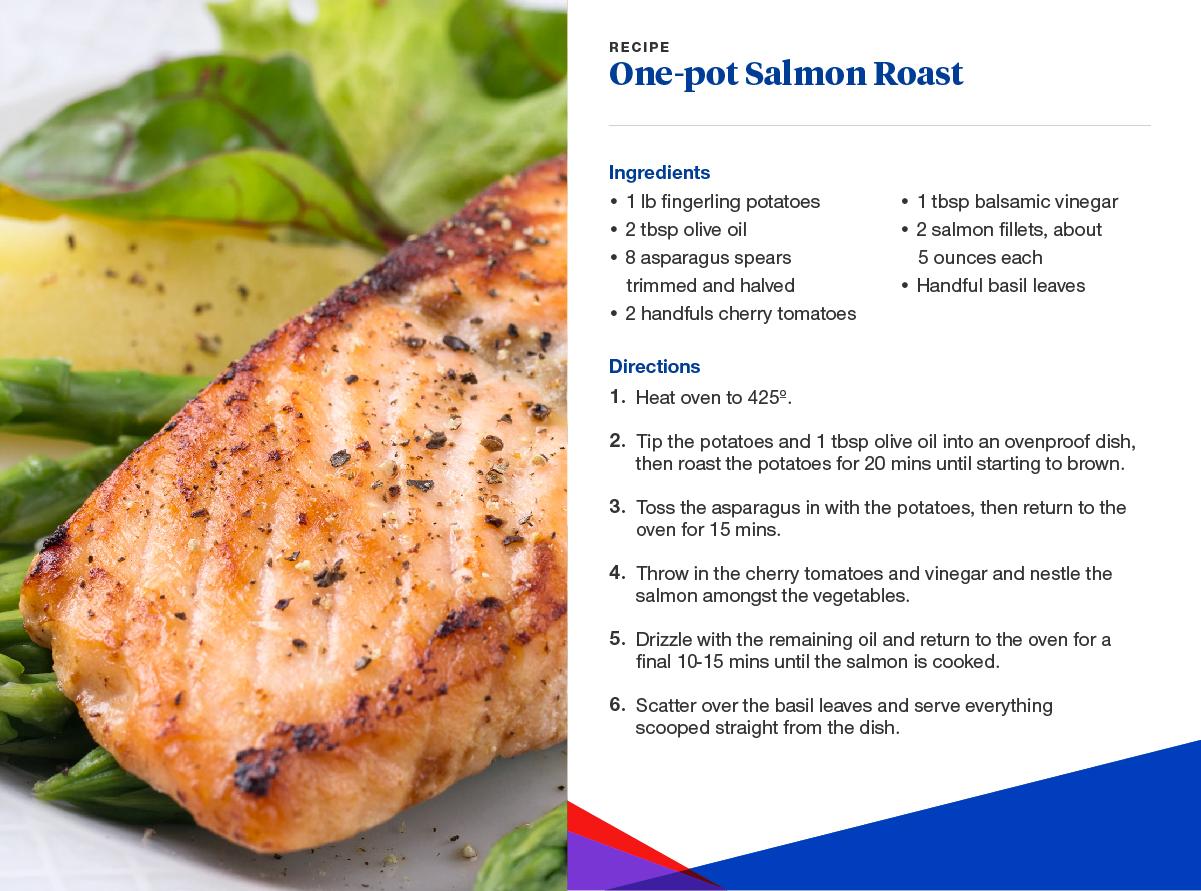 one-pot salmon roast recipe card.
