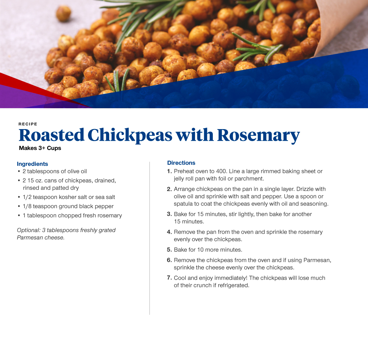Roasted chickpeas with rosemary recipe card, with ingredients and directions also listed below.
