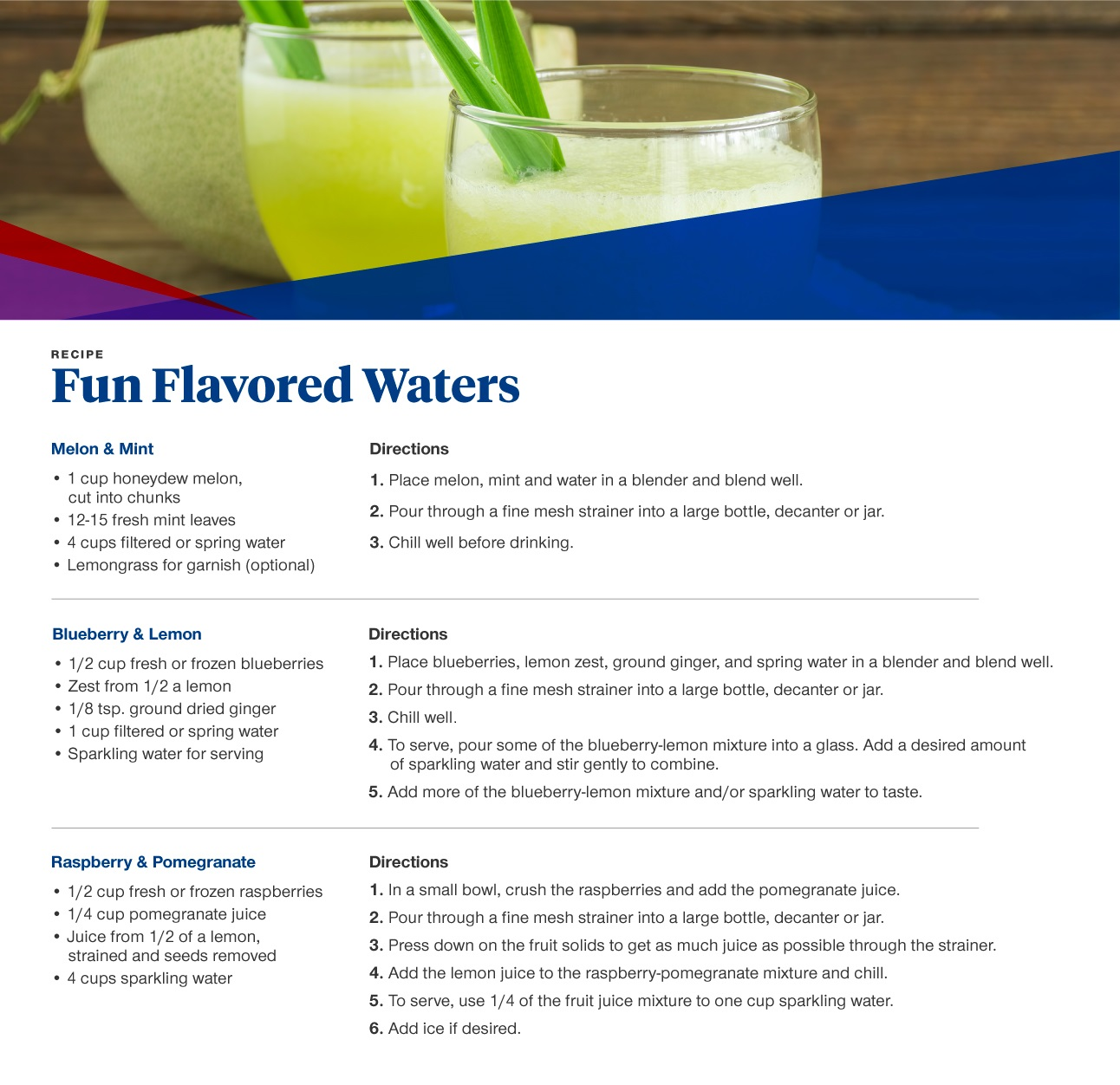 fun, flavored waters recipe card with ingredients and instructions also listed below.