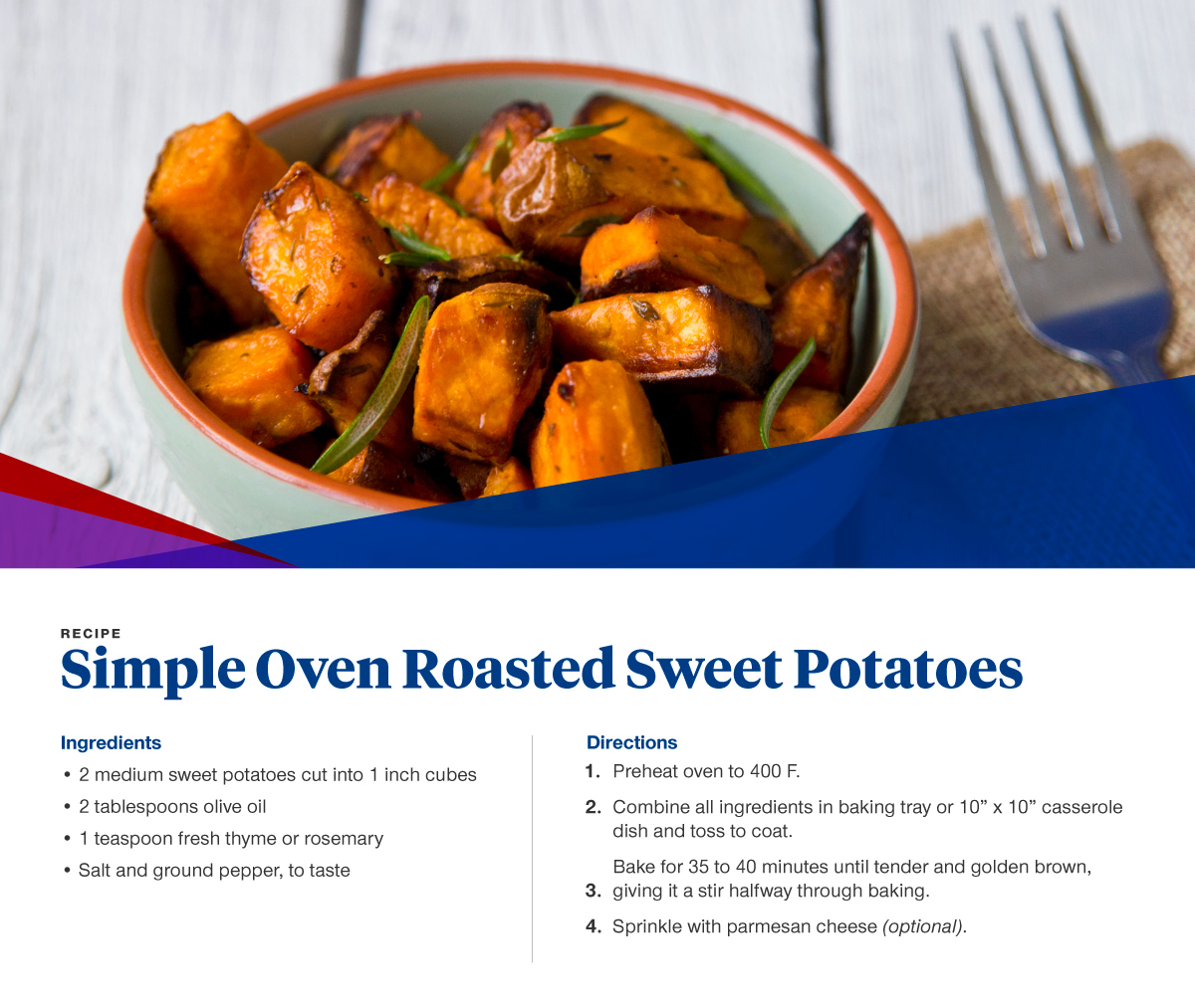 oven roasted sweet potatoes recipe card with ingredients and directions also listed below.