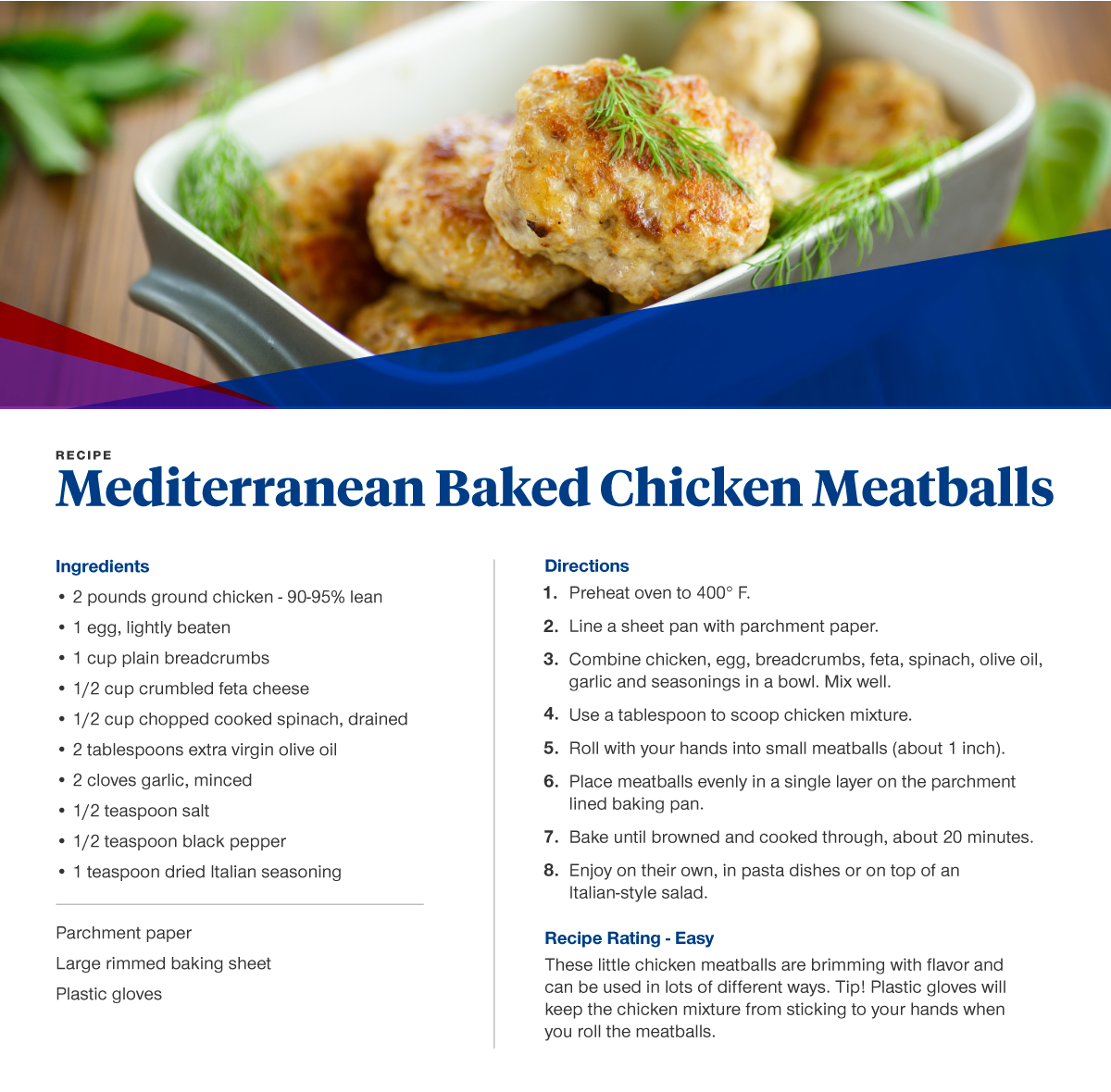 baked chicken meatballs recipe  card with ingredients and directions also listed below.